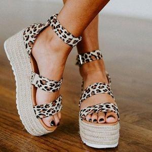 Leopard Wedge Ankle strap Espadrille